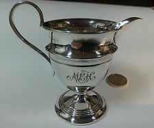 An attractive sterling silver helmet shaped cream jug.