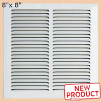 """Air Return Vent Cover Grille 8"""" x 8"""" Duct Size White Steel Sidewall Ceiling Wall"""