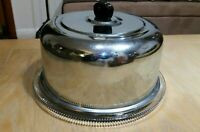 Vintage Cake Saver Domed Chrome Cover Cut Glass Plate Mid Century Modern Kitchen