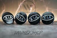 Set of 4 KIA BLACK Alloy Wheel Hub Centre Cap Set Centre Caps 59mm 4x Badges