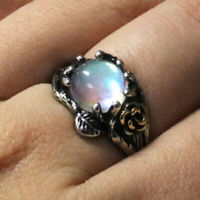 Sparkling Round Blue Moonstone Ring Women Jewelry Gift 14K White Gold Plated
