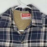 Wrangler Mens Lined Flannel Shirt LS Blue Black White Plaid Small