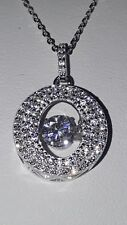 STUNNING 925 STERLING SILVER DOUBLE HALO MOVING STONE PENDANT NECKLACE