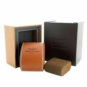 Breitling 1884 Watch Box Genuine Brown Leather Bakelit Authentic Case Gift Set ♕