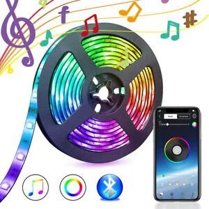 RGB Bluetooth LED Strip Lights Music Phone Control Dimmable Light Lamp Full Kit