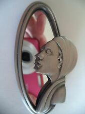 "Vintage AJC ""Silvertone Art Deco Lady in Mirror"" Brooch/Pin   Large"
