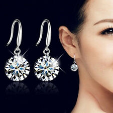 Trendy Women/Girls 925 Sterling Silver Ear Stud Earrings Crystal Drop Earrings