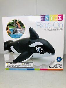 "Intex 76"" x 47"" Jumbo Orca Whale Ride On Swimming Pool Inflatable Float NIB"