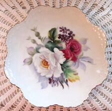 Lefton China Plate Roses Japan 6926 Scalloped Edge Gold Trim Hand Painted Mint