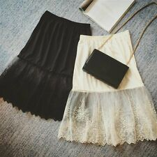 Women Lace Slip Skirt Extender Knee Length A-Line Floral Underskirt Petticoat