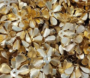 20 pcs Gold Tone Metal Flower Dimensional Craft Jewelry Charms Stampings Accents