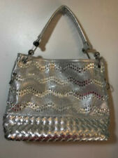 Silver Tone Metallic Look Glitter Bling Tote