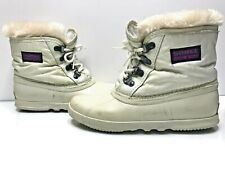Sorel Size 6 Women's White Waterproof Winter Snow Boots With Fur
