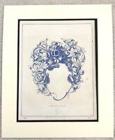 1859 Stampa Araldico Protezione Ornamentale Intagliato Design Antico Originale