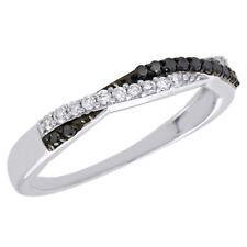 10K White Gold Black Diamond Anniversary Ring Ladies Braided Wedding Band 1/4 Ct
