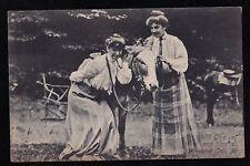 Antique Vintage RPPC Postcard Two Women With Beautiful Horse / Pony Unused