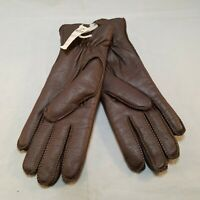 Vintage Sears Brown Leather Winter Gloves Women Ladies MEDIUM NEW