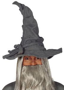Gandalf Style Grey Adult Fancy Dress Fantasy Cosplay Fabric Wizard Hat