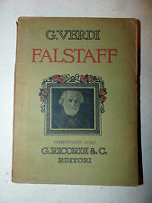 G. Verdi: FALSTAFF pianoforte solo 1893 Ricordi Prima Rappr. Teatro Scala Milano