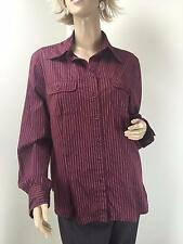 Cue Women's Shirt Burgundy White Striped Long Sleeve Button Front Size 12 EXC