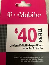 T-Mobile $40 Prepaid Refill Card, Air Time Top-Up/Pin RECHARGE/Reload (Directly)