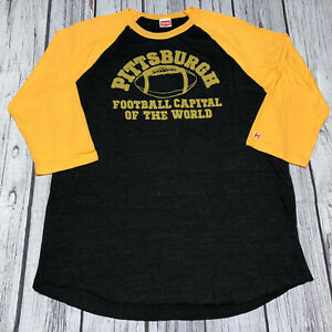 Homage NFL Pittsburgh Steelers Black Yellow Mens T-Shirt XL 3/4 Short Sleeve