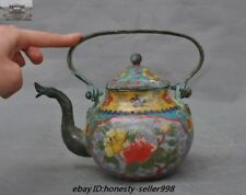 Marked Old Chinese Dynasty Bronze Cloisonne Enamel Flower Ancient Teapot Kettle