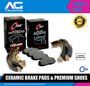 Front and Rear Ceramic Brake Pads + Shoes Fits Chevrolet K1500 K2500, Tahoe