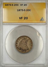1875-S Seated Liberty Silver 20c Coin ANACS VF-20 (9)