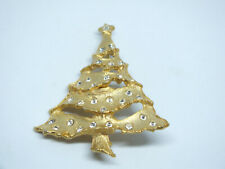 Beautiful Brooch Pin Christmas Tree Gold Tone Clear Rhinestones Matte 2.25x1 7/8