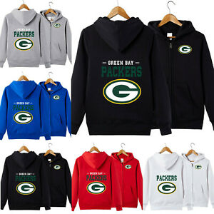 Green Bay Packers Football Hoodie Unisex Zipper Hooded Sweatshirt Casual Jacket