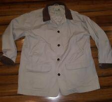 Vtg LL Bean Canvas Barn Field Hunting Jacket Coat Corduroy Collar Animal print