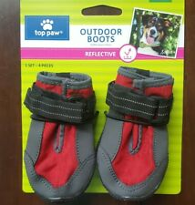 Top Paw, Strap-on, Reflective, Protective Dog Outdoor Boots, Red/Grey, M/XL