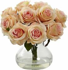 New! Nearly Natural Artificial Peach Roses Bouquet Flowers Floral in Glass Vase