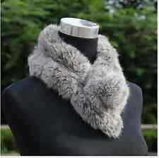 Echarpe Fourrure Lapin Couleur gris Real Rabbit Fur Scarf Shawl