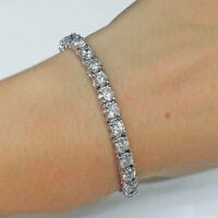 7.40 Carat White Round Diamond Women's Tennis Bracelet In Solid 14K White Gold