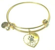 Halos & Glories by Alex and Ani Gold Paw Prints Pet Charm Bangle Bracelet