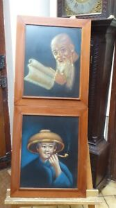 TWO PASTEL PORTRAITS OF CHINESE MEN 1970,S  FREE SHIPPING TO ENGLAND