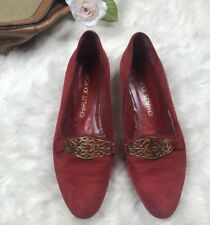 Charles Jourdan Vintage Red Slip On Heels Gold Accents Womens Size 8.5 AA