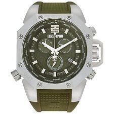 Technosport TS-100-8AV Mens World Timer GMT Swiss Chrono Military Green Watch