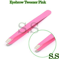 Professional Hair Remover Eyebrow Tweezer Pink Color Slanted Tip Plucker Tools
