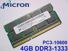 4GB DDR3-1333 PC3-10600 1333Mhz MICRON MT16JSF51264HZ-1G4D1 LAPTOP RAM MEMORY