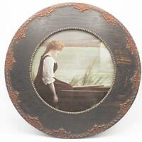 Antique Print Vintage Victorian in Rowboat Girl Round Ornate Frame