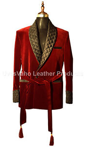 Men Maroon Belted Smoking Jackets Elegant Luxury Designer Dinner Party Wear Coat