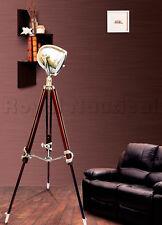 Nautical Theater Spot Light Floor Lamp Wooden Tripod  Lighting  Home Decor