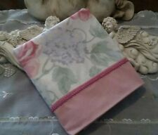 COUNTRY COTTAGE CHIC & SHABBY PINK ROSE/BLUE HYDRANGEAS PINK PIPING PILLOWCASE
