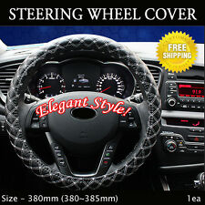 Rachel Car Steering Wheels Leatherette Cover Cap White Stitch Size - 380mm