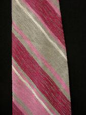 Vintage 597ms-600ms Dacron Cravate avec violet, rose, gris