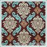 BonEful Fabric FQ Cotton Quilt Brown Teal Blue Cream Damask Flower Leaf Scroll L