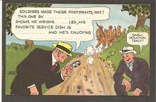 POSTCARD: DICK TRACY w/ MAGNIFYING GLASS: FILL-IN-THE-BLANK MESSAGE FROM WW2 GI